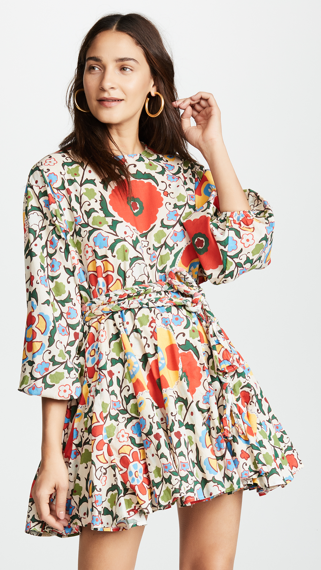 Suzani Print Long Sleeve Dress