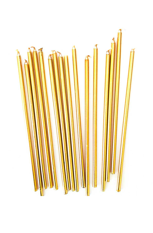 Tall Gold Birthday Candle Metallic Cake Toppers
