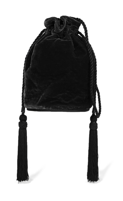 Velvet Shoulder Bag with Tassels