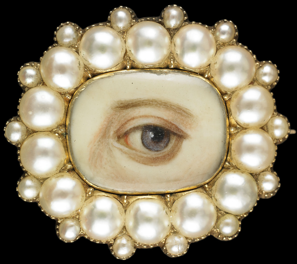 Pearl lover's eye brooch miniature antique jewelry pin painting