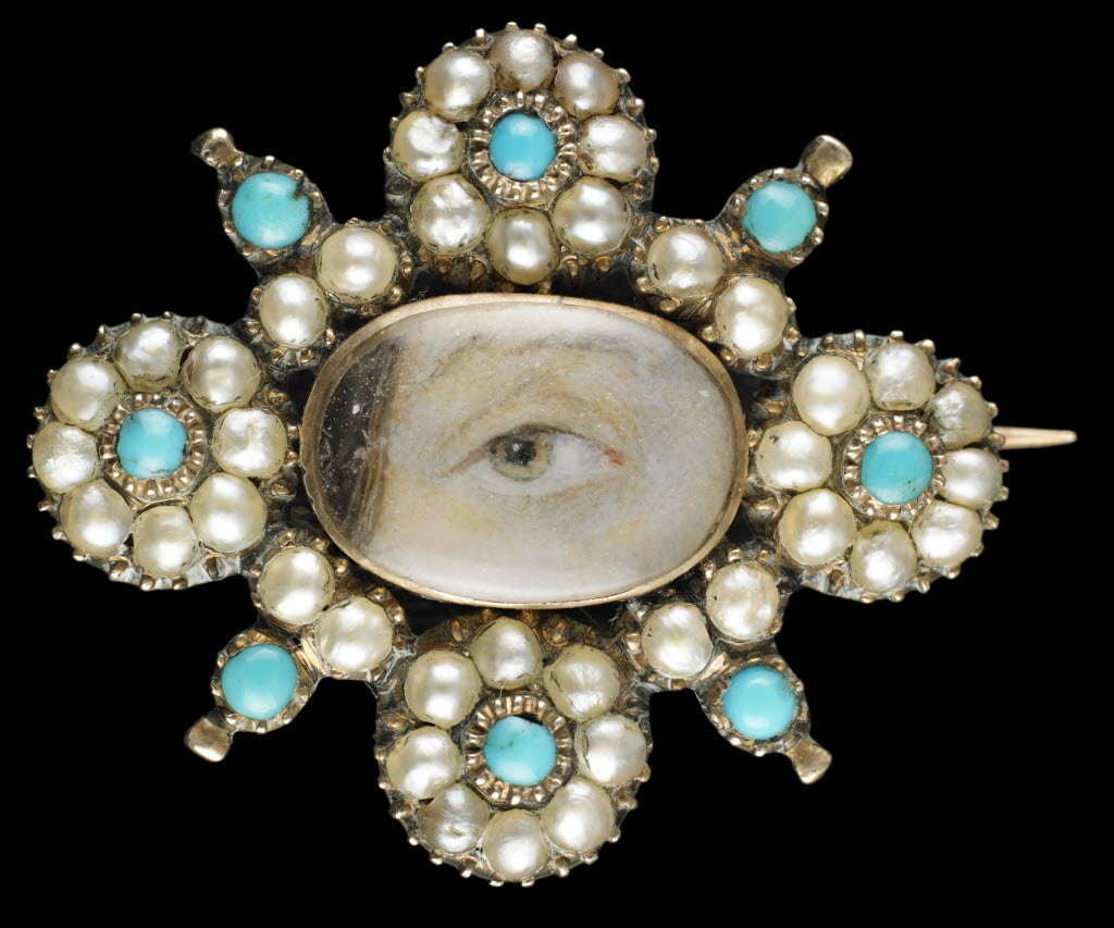 Lover's eye brooch with pearls and turquoise antique jewelry