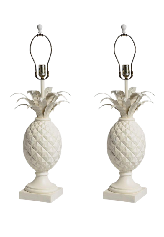 White Pineapple Table Lamp Pair