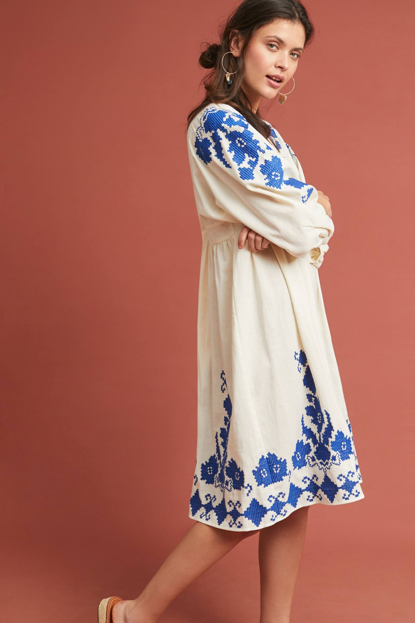 Embroidered Peasant Dress Blue and White