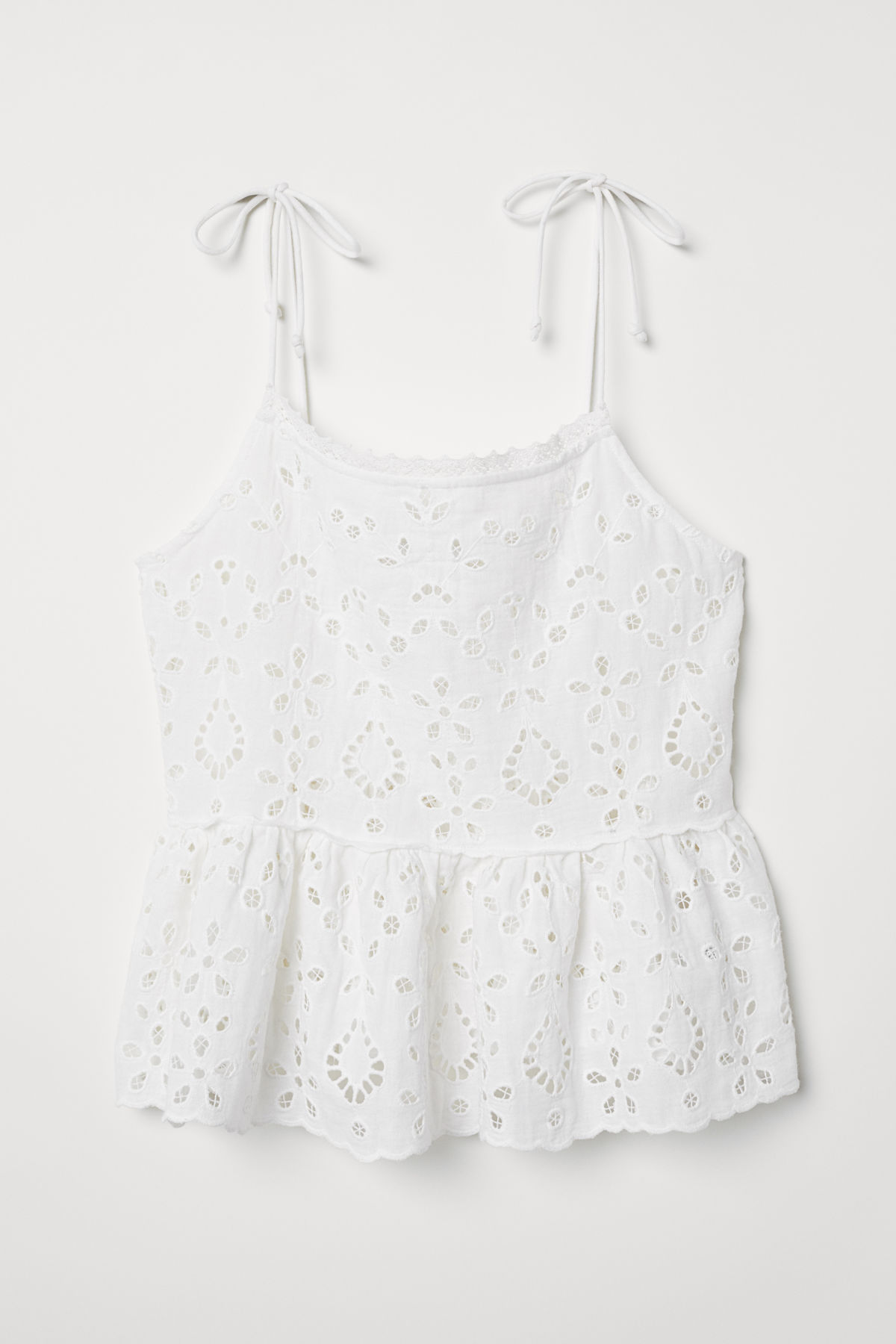 White Embroidered Peplum Top