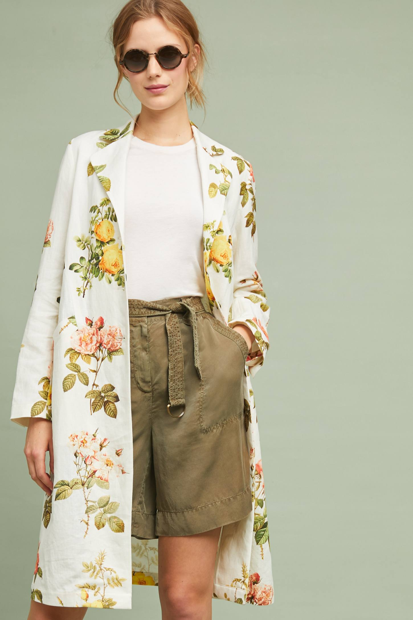 White Floral Print Coat