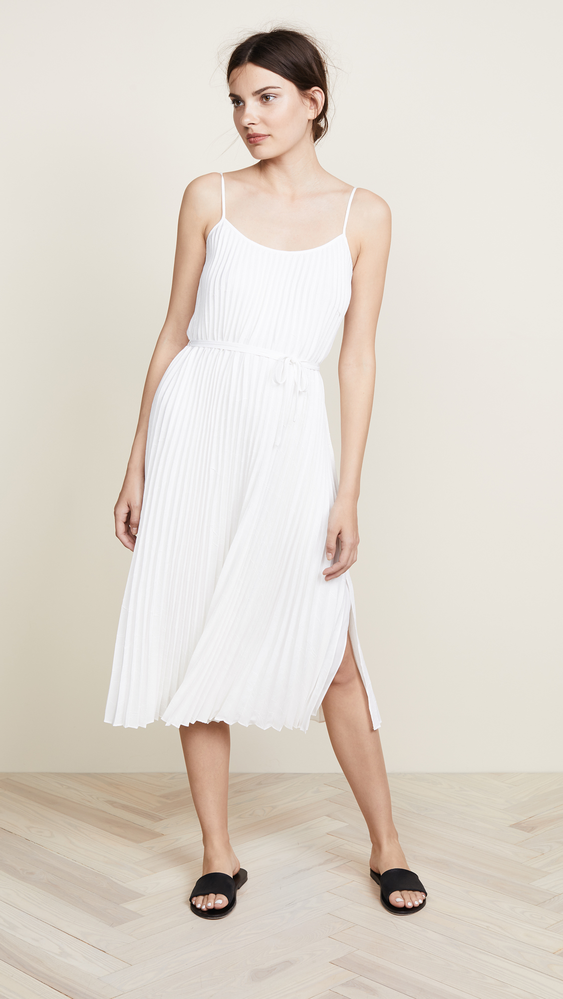 White Pleated Cami Dress