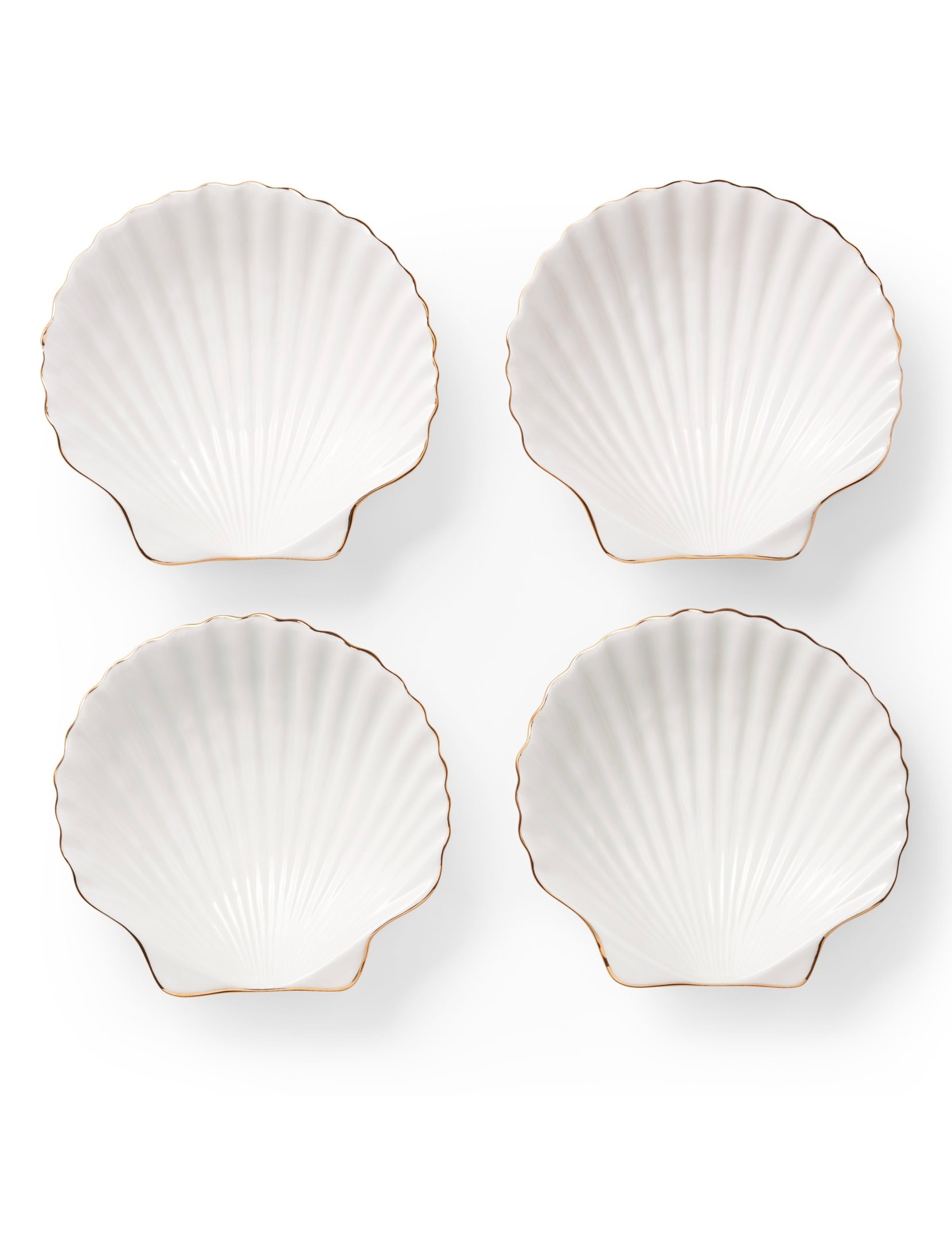 Shell Appetizer Plates with Gold Rim