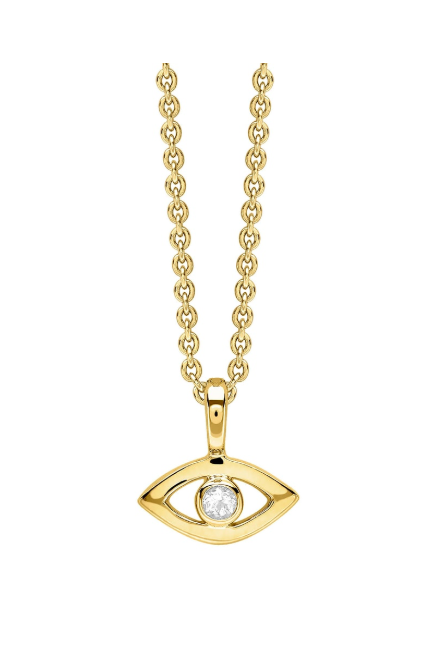 Yellow Gold Evil Eye Necklace Topaz