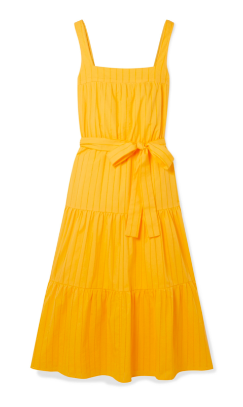 Yellow Tiered Midi Dress with Tie Waist