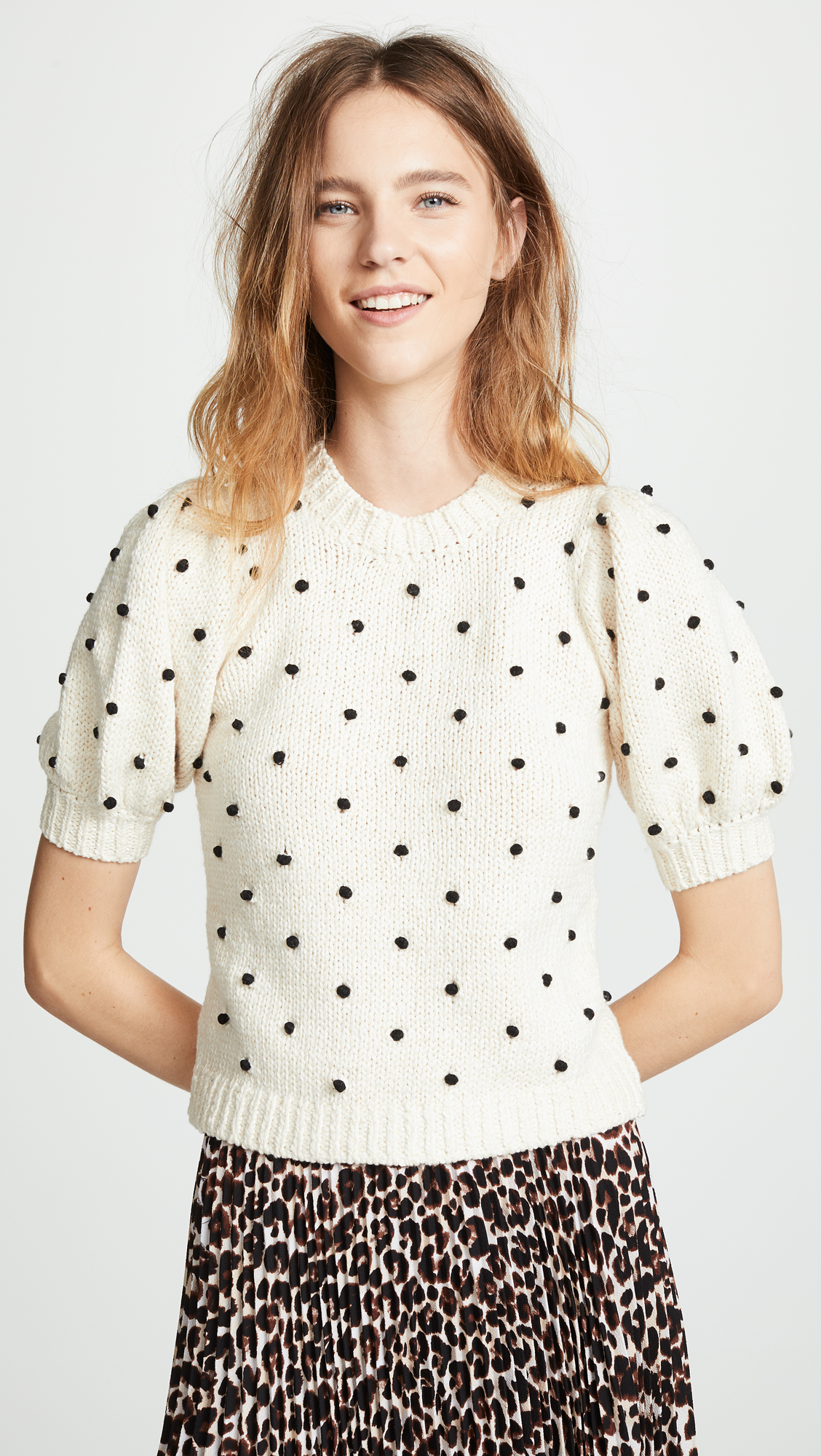 Polka Dot Embroidered Short Sleeve Sweater Black and White