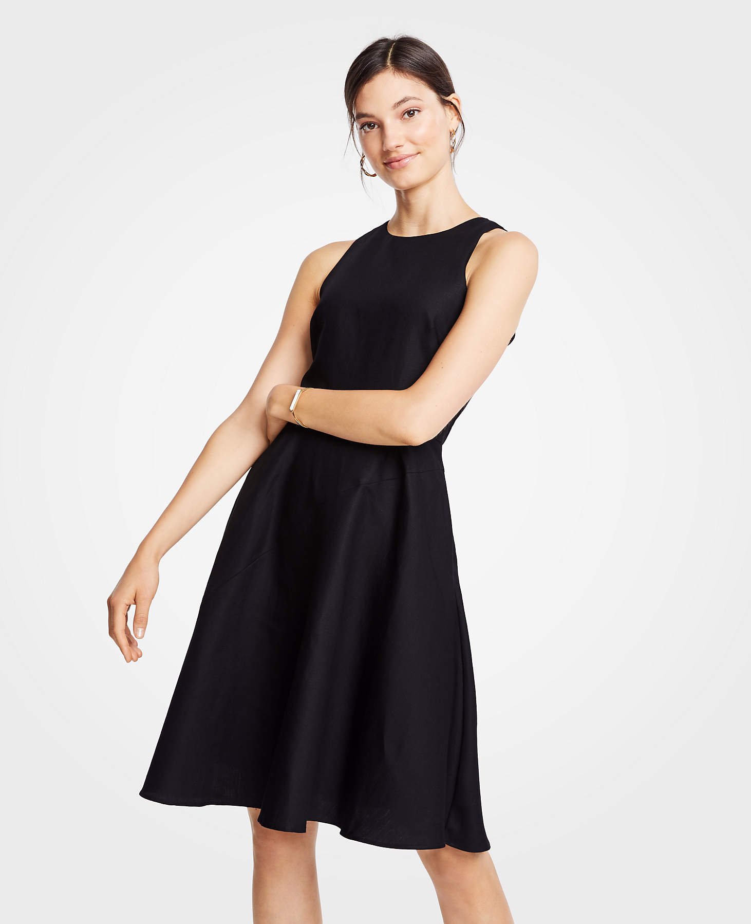 Black Cotton Linen Sleeveless Flare Dress