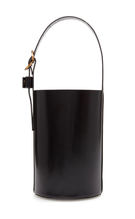 Small Black Leather Bucket Bag