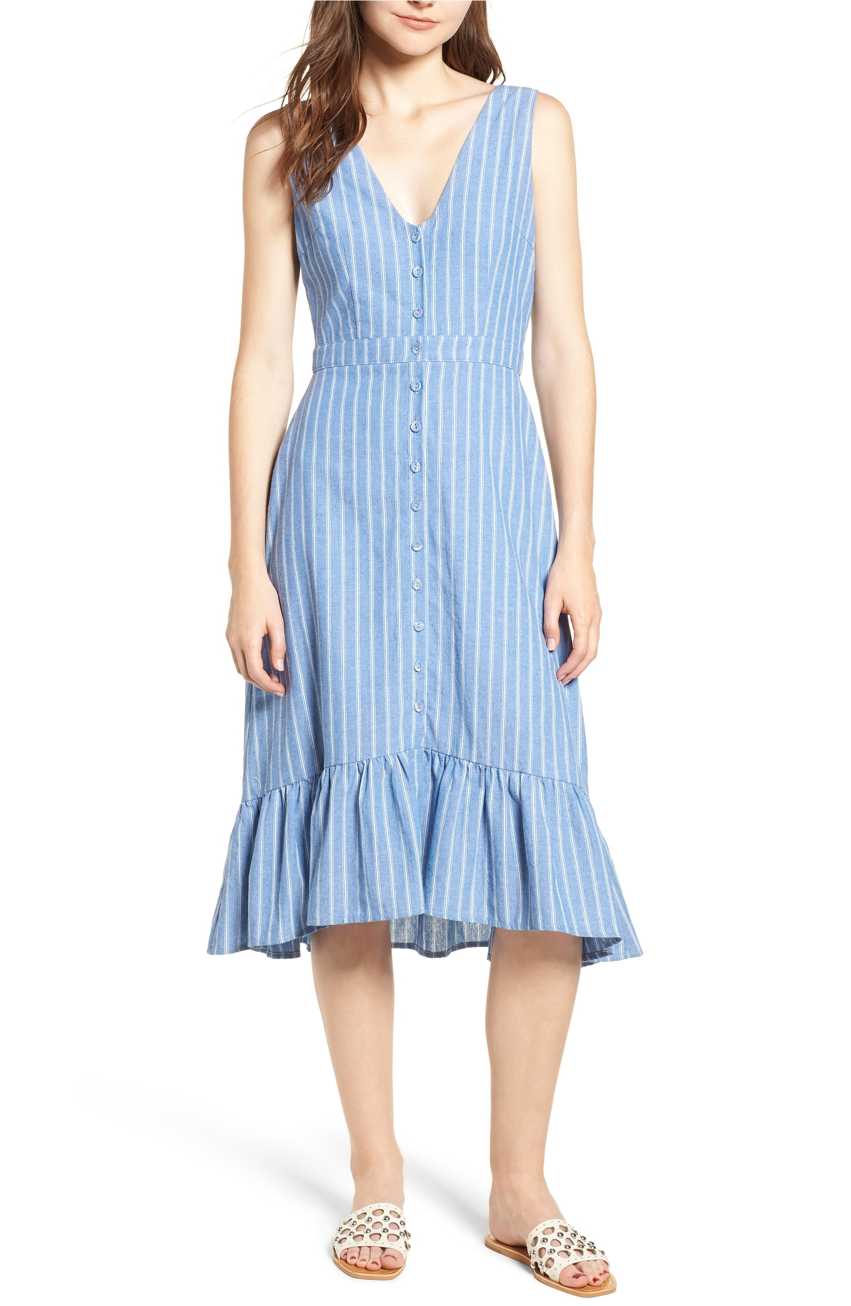 Blue Stripe Ruffle Dress