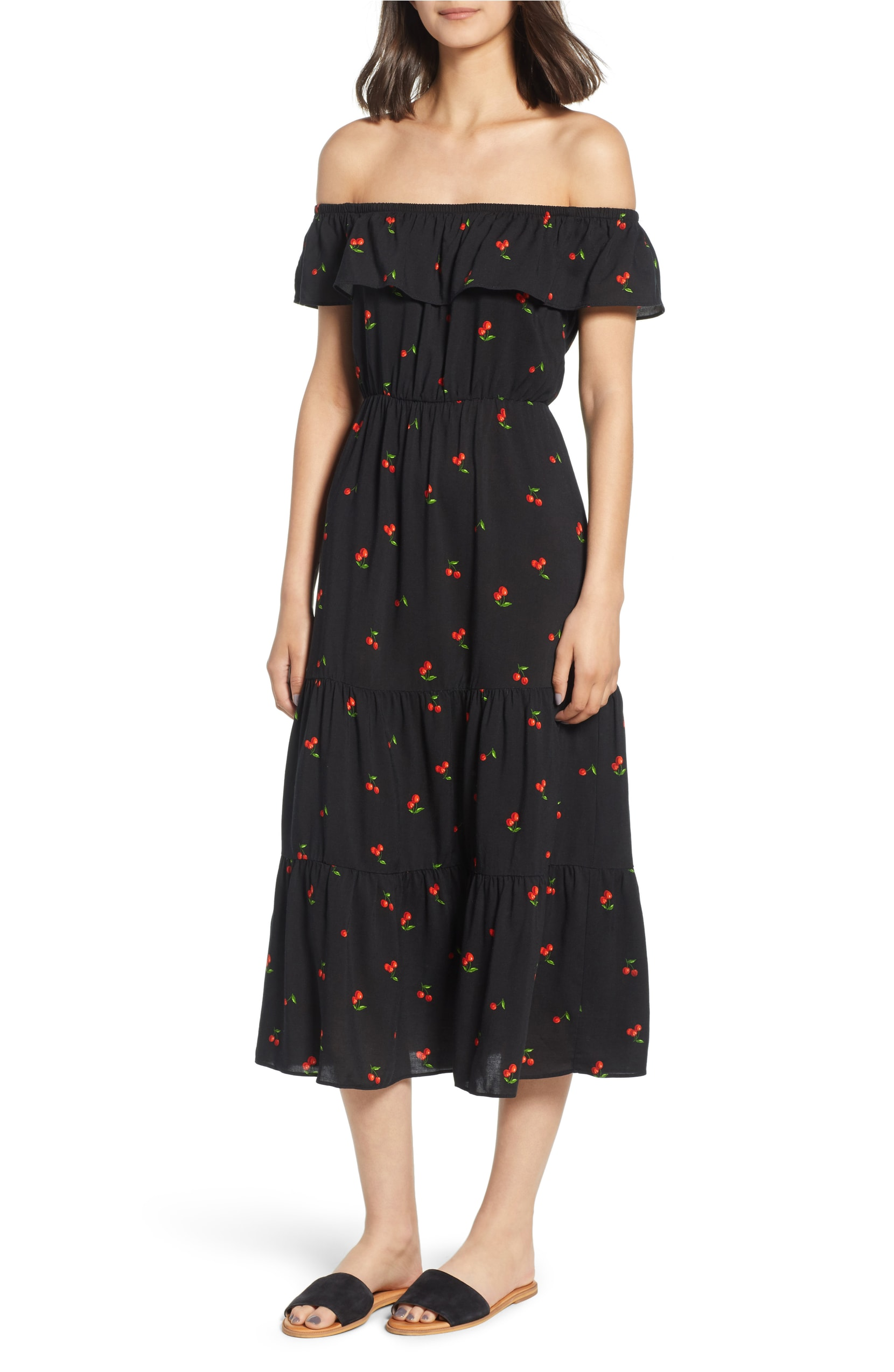 Cherry Print Off the Shoulder Black Maxi Dress