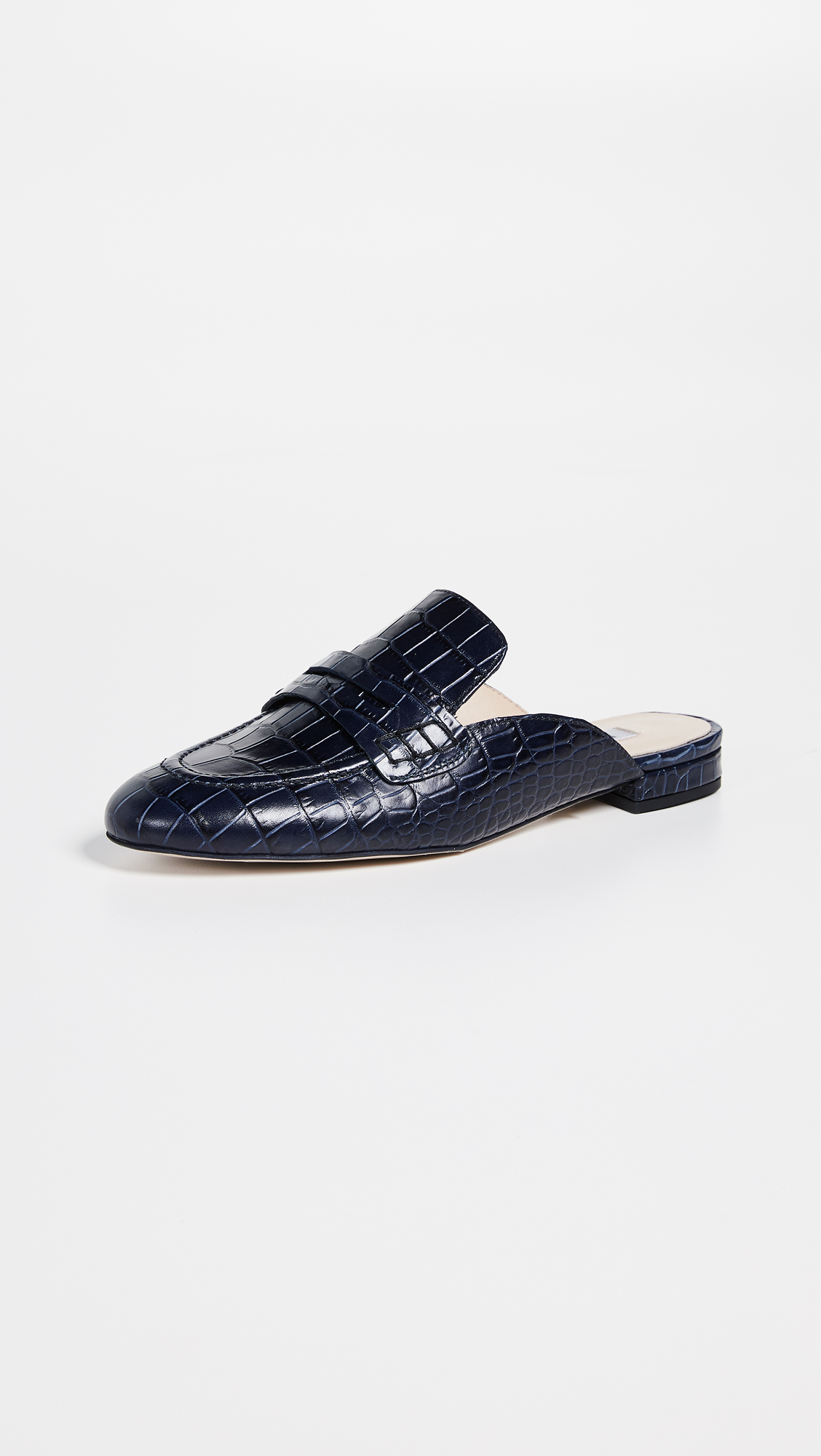 Croc Embossed Navy Blue Mule Loafer