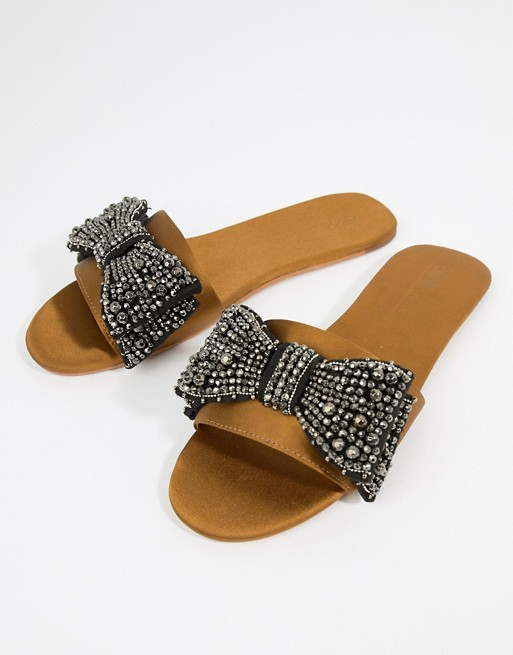 Embellished Bow Slides