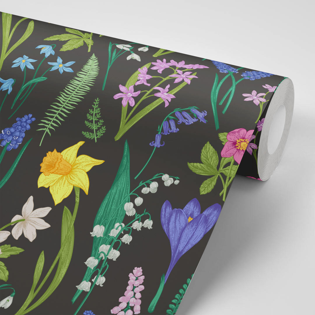 Floral Wallpaper Black Daffodil Fern Removable Peel Stick Temporary Nursery Kids Rooms Katie Considers
