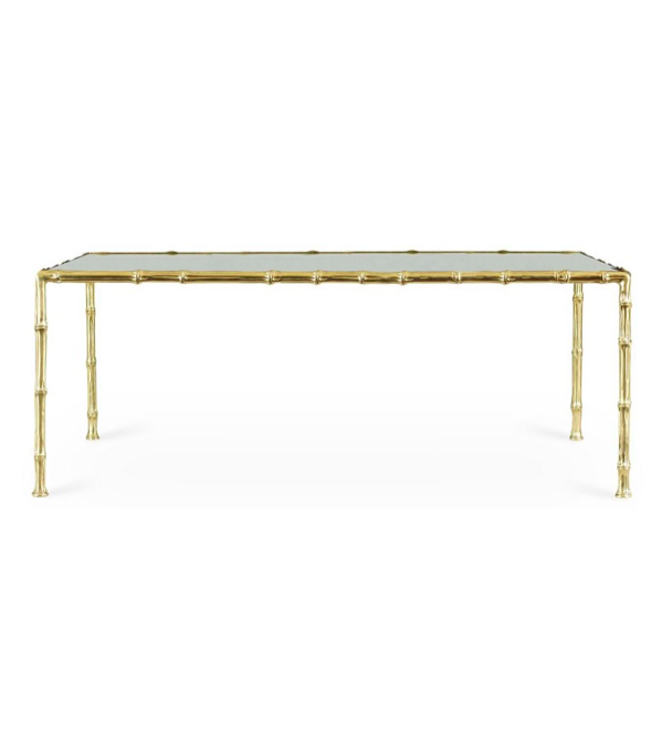 Gold Faux Bamboo Coffee Table Brass