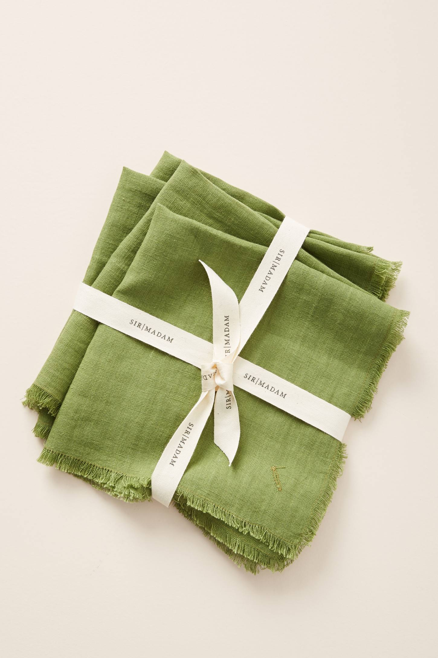 Green Frayed Dinner Napkins