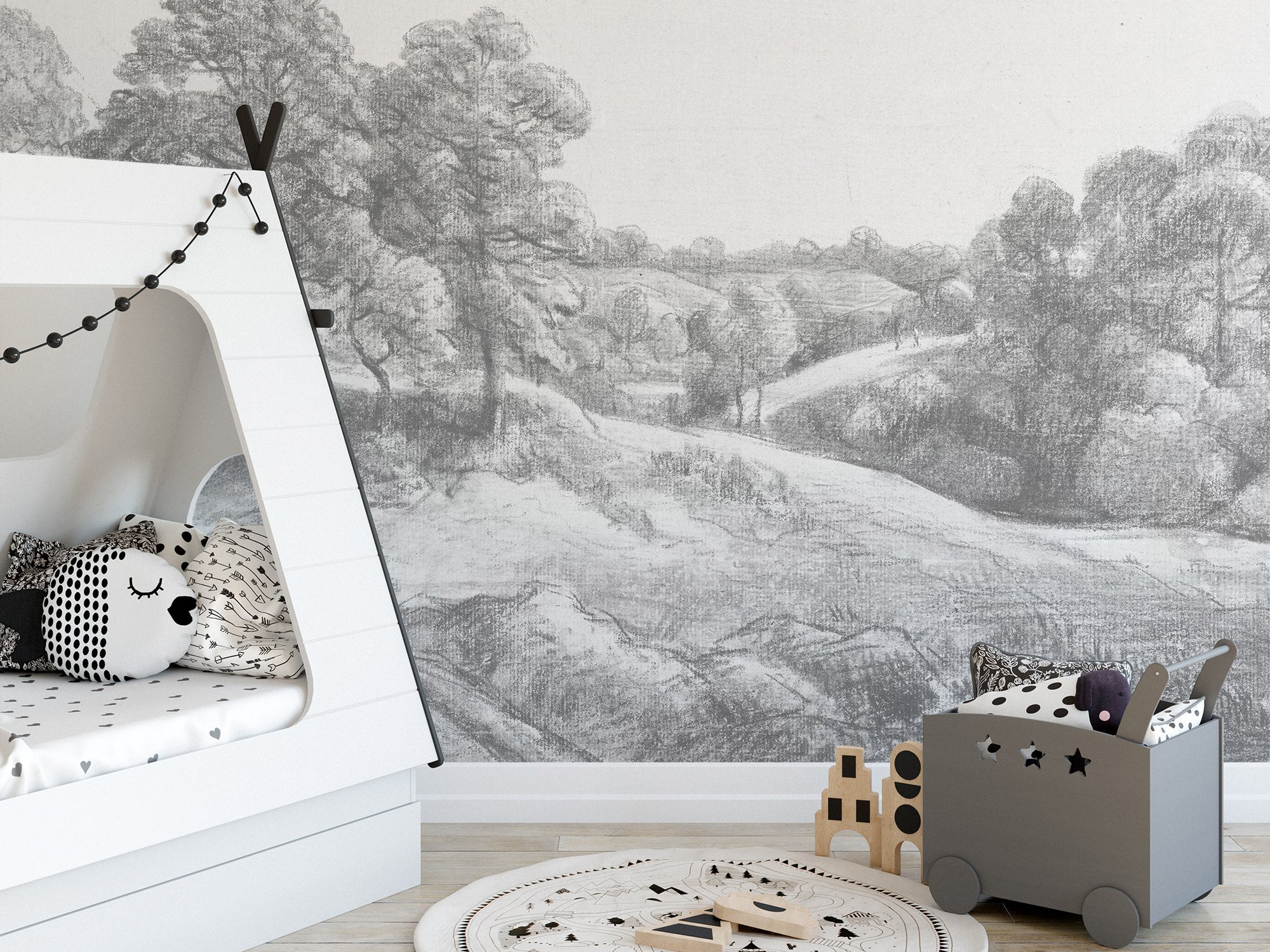 Grey Mural Wallpaper Removable Trees Countryside Landscape Self Adhesive Nursery Childrens Rooms Temporary Drawing