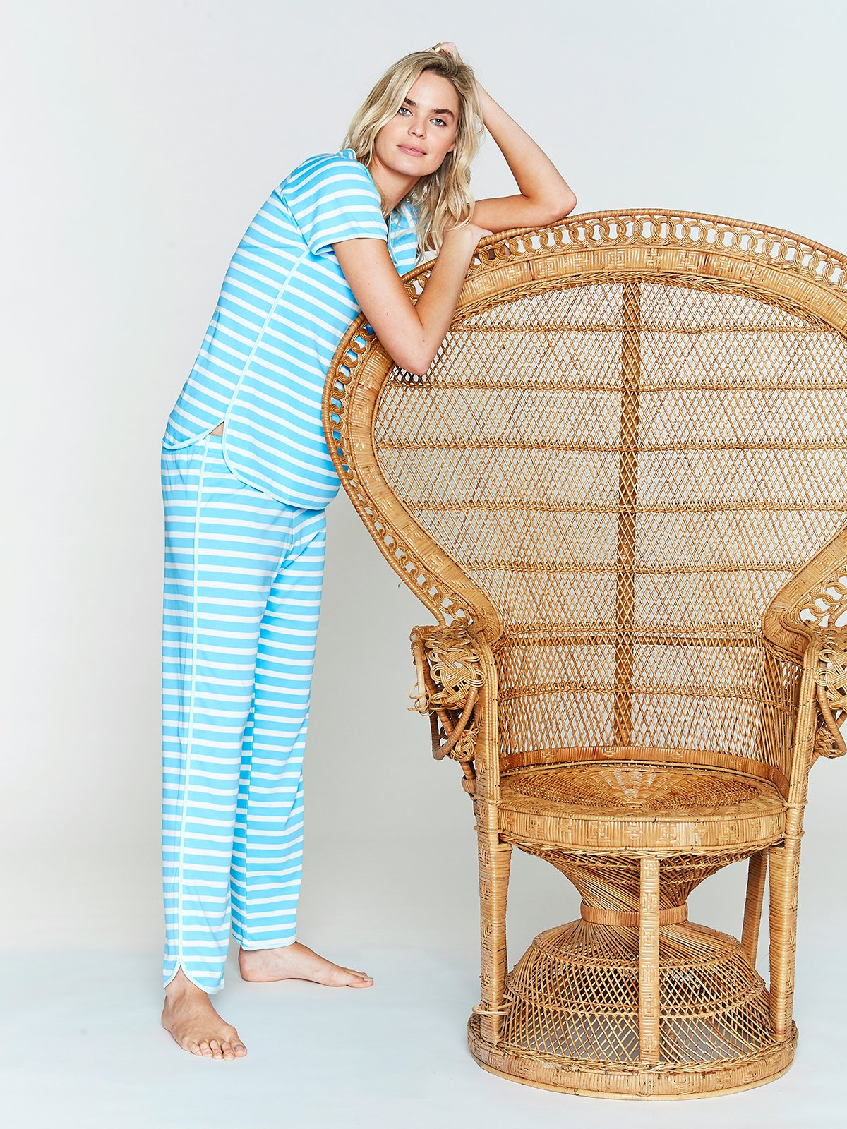 Blue and White Stripe Cotton Pajama Pants and Top by Lake Pajamas