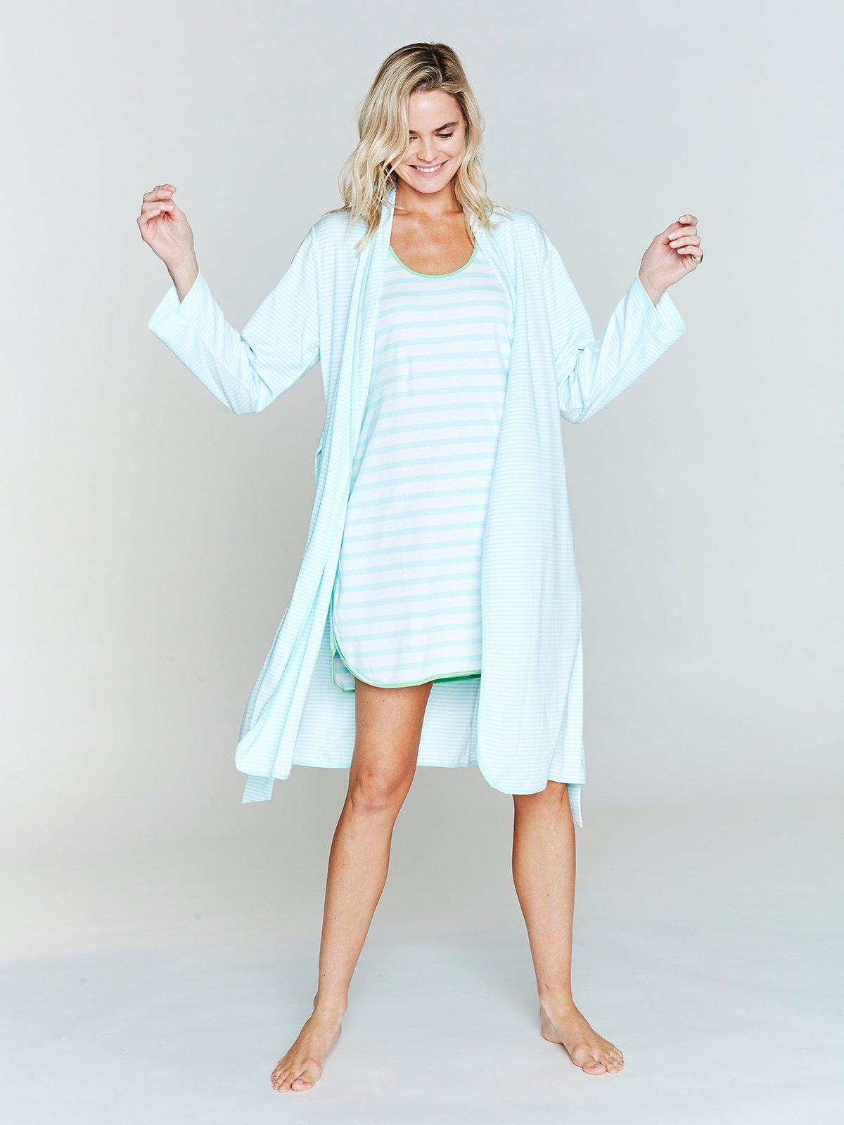 Blue White Stripe Cotton Robe by Lake Pajamas