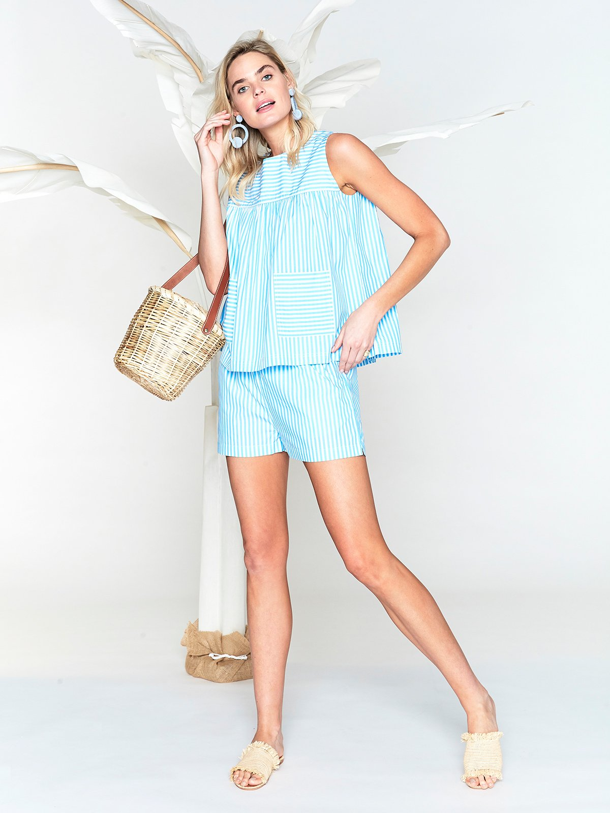Blue and White Stripe Camisole and Cotton Shorts by Lake Pajamas