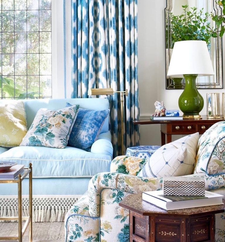 Mark D Sikes Montecito Vacation Home Living Room Blue Ikat Curtains