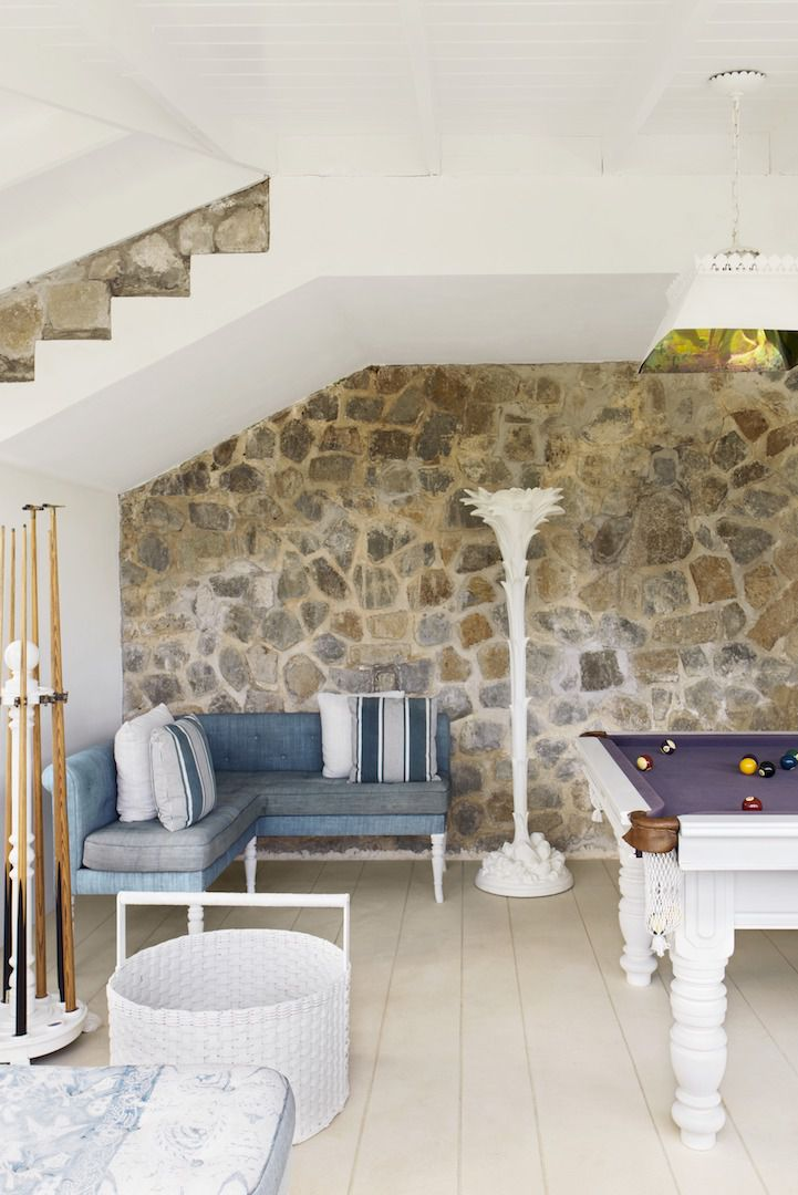 Tropical billiard room in a Mustique villa decorated by Veere Grenney