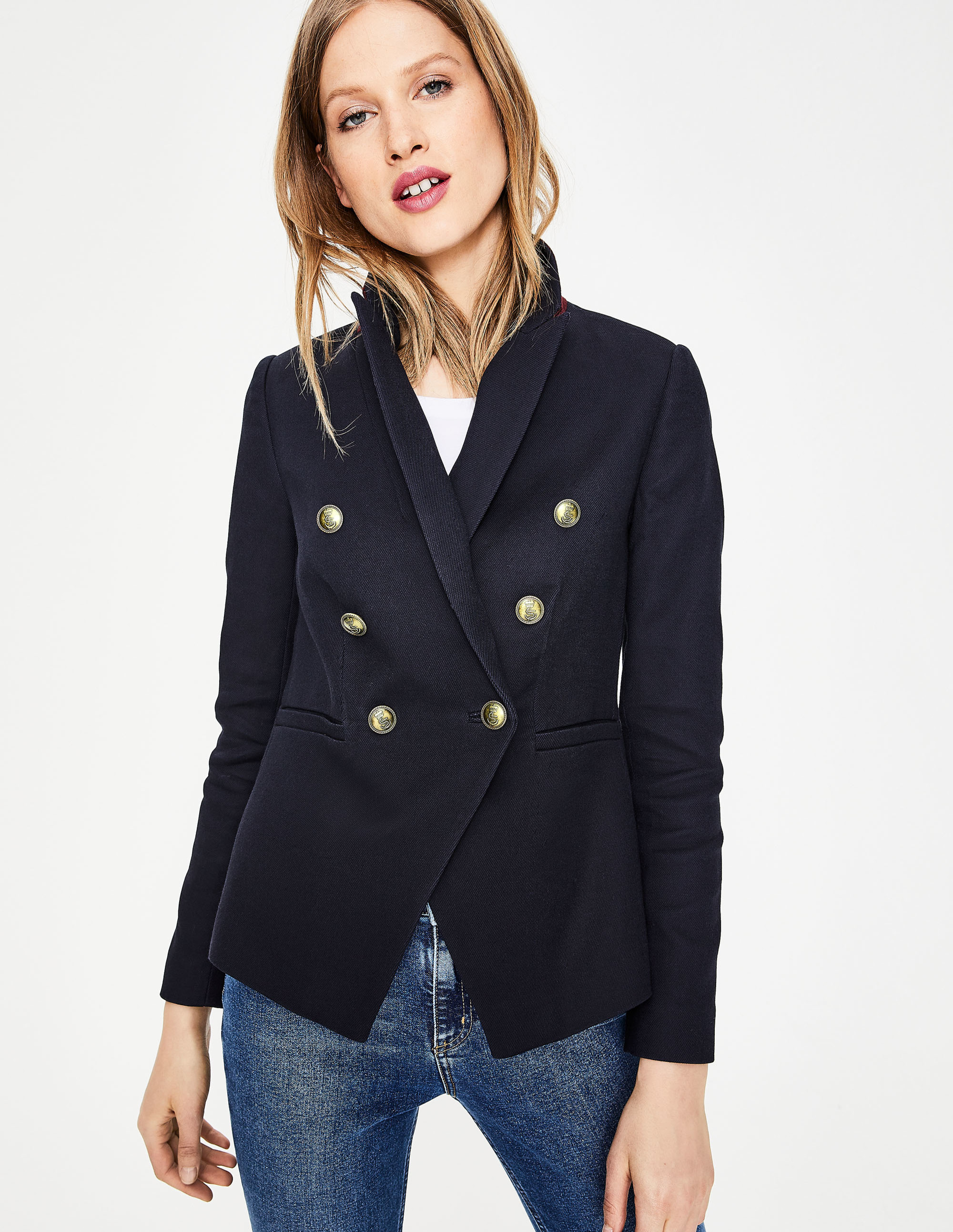 Navy Blue Blazer with Gold Buttons