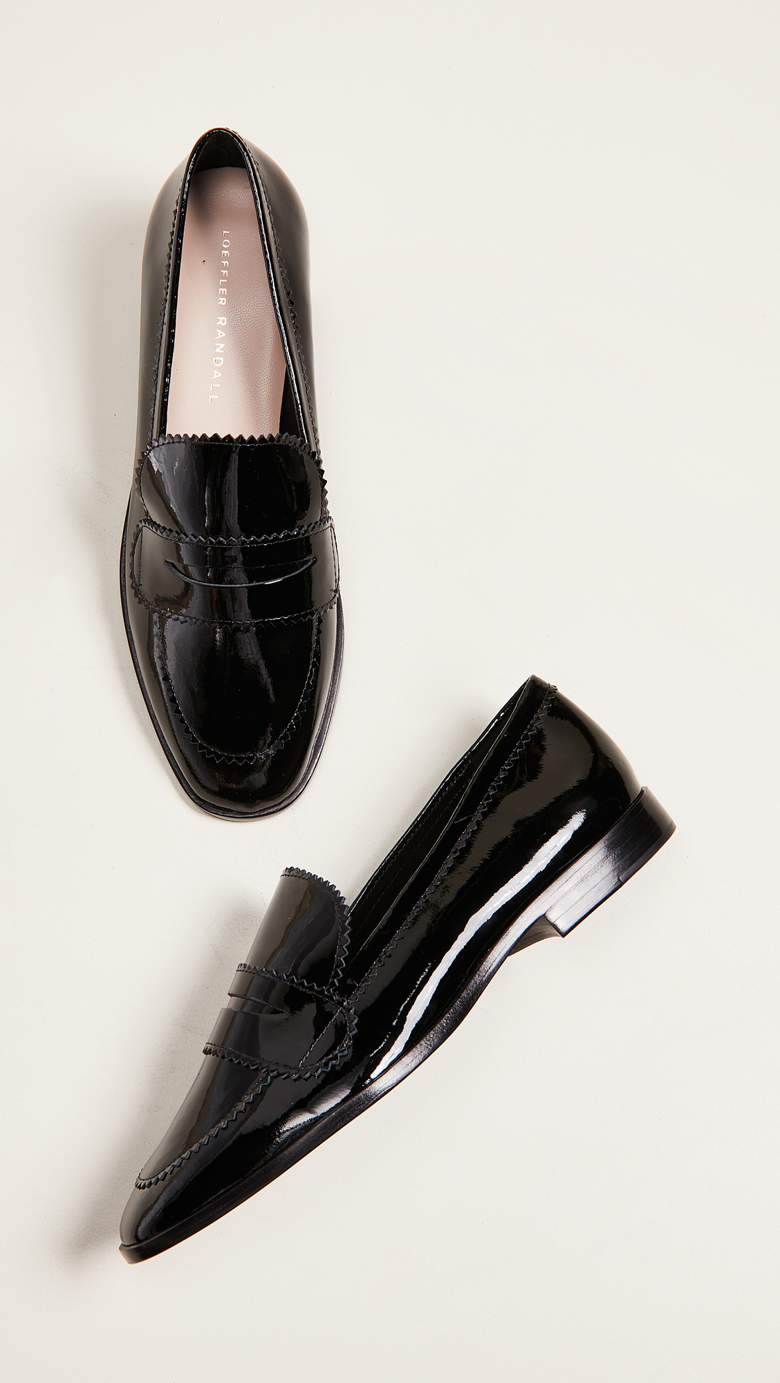 Black Patent Leather Beatrix Loafers by Loeffler Randall