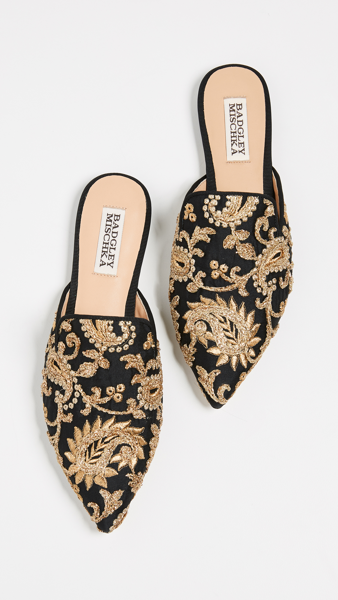 Black Gold Embroidered Brocade Point Toe Mules