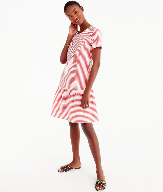 Red and White Stripe Drop Waist Dress