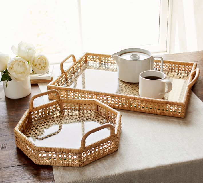 Cane and Rattan Tray by Sarah Bartholomew for Pottery Barn