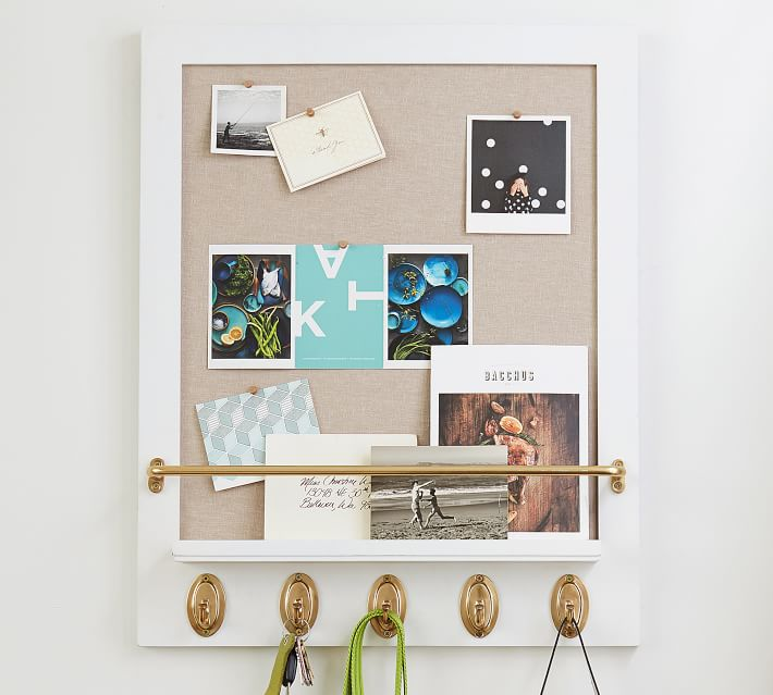 Pin Board with Brass Hooks by Sarah Bartholomew for Pottery Barn
