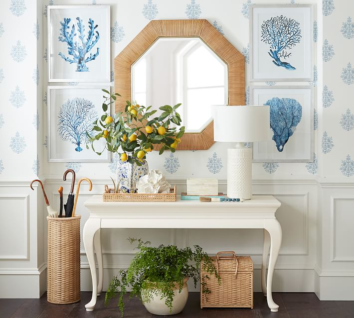 Entry by Sarah Bartholomew for Pottery Barn with Rattan Umbrella Stand and White Queen Anne Console