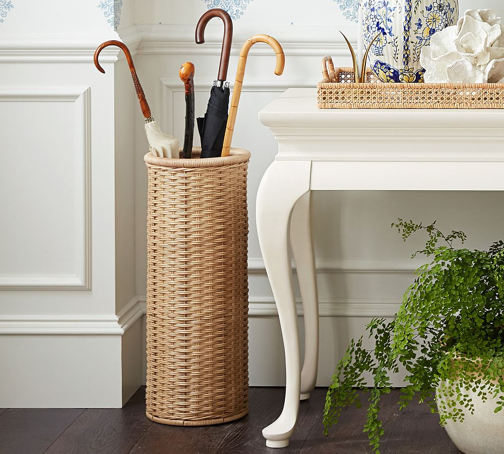 Rattan Wicker Woven Umbrella Stand by Sarah Bartholomew for Pottery Barn