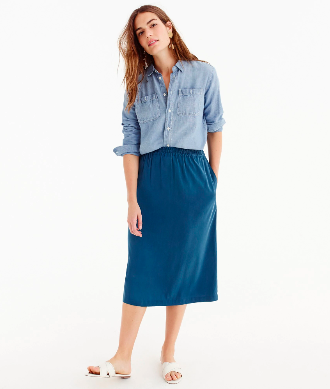 Blue Shirred Midi Skrit with Chambray Top