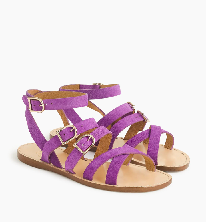 Strappy Suede Sandals Lavender