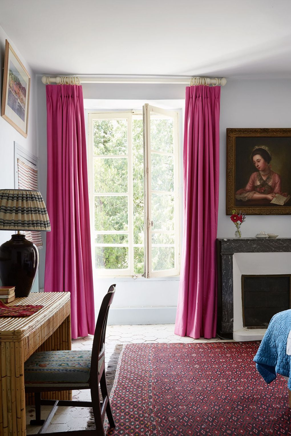 Pink Curtains Susan Deliss French Country Home Bedroom