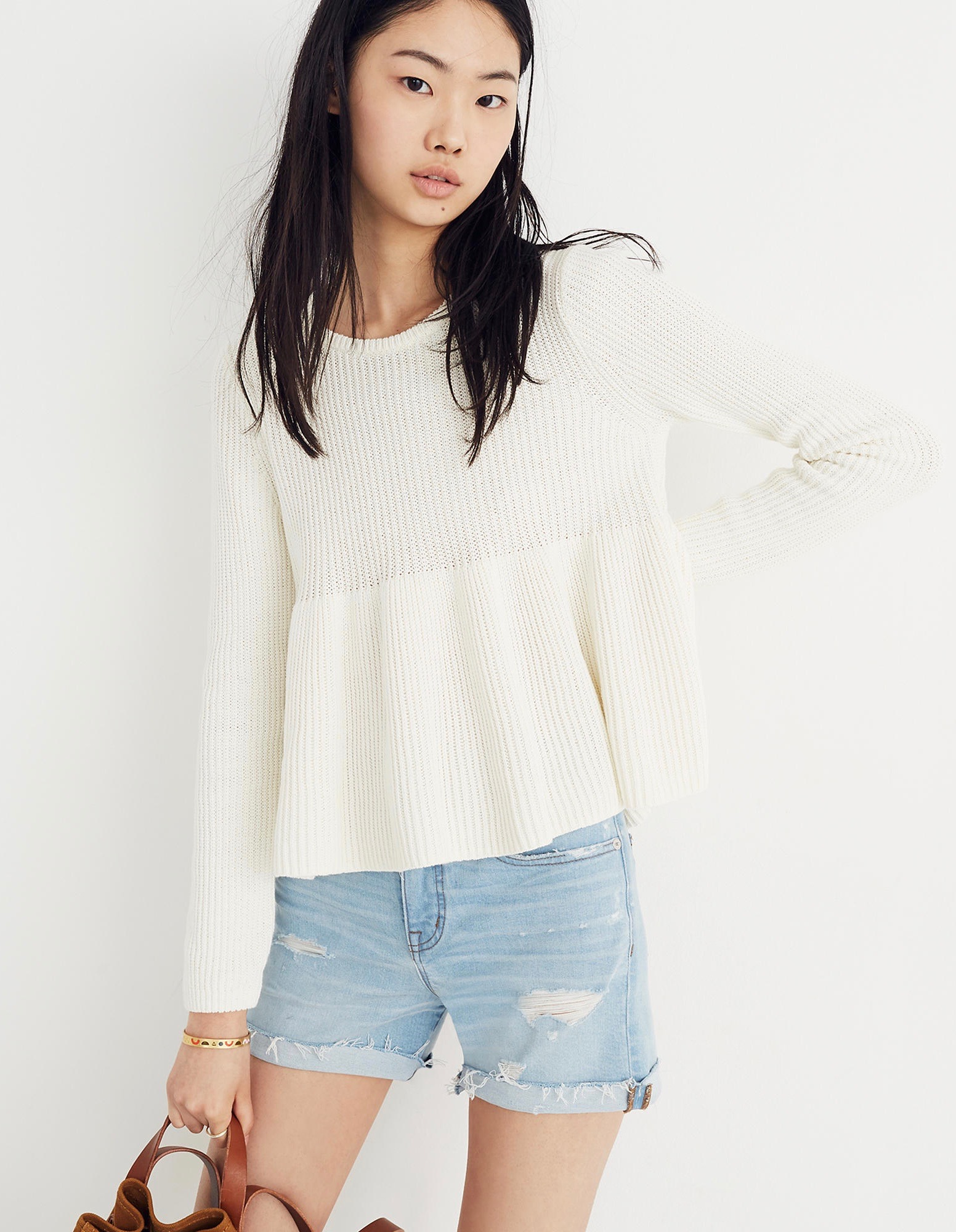 Swingy Ribbed Sweater White