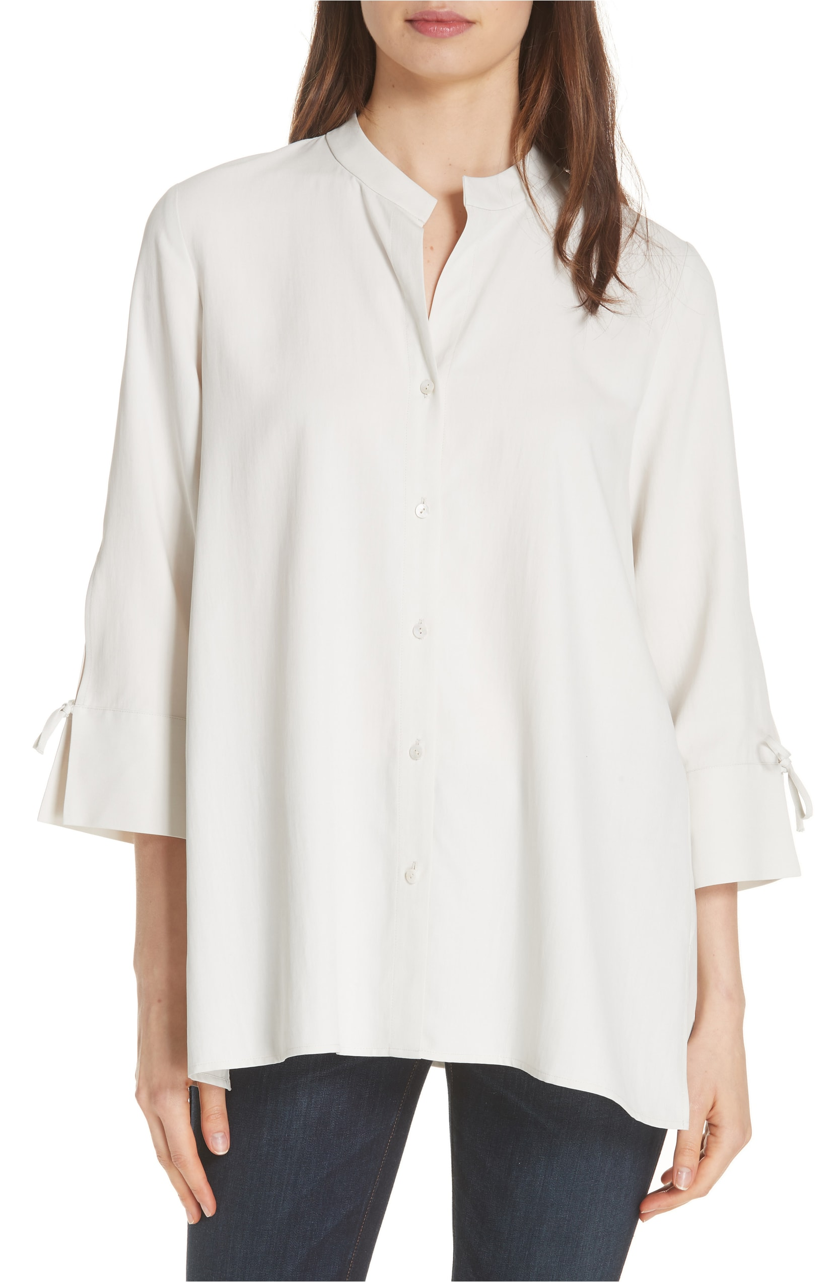 White Tie Sleeve Silk Top