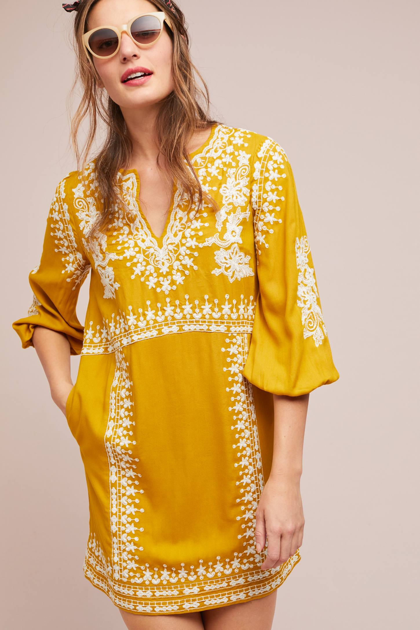 Yellow Embroidered Tunic Dress