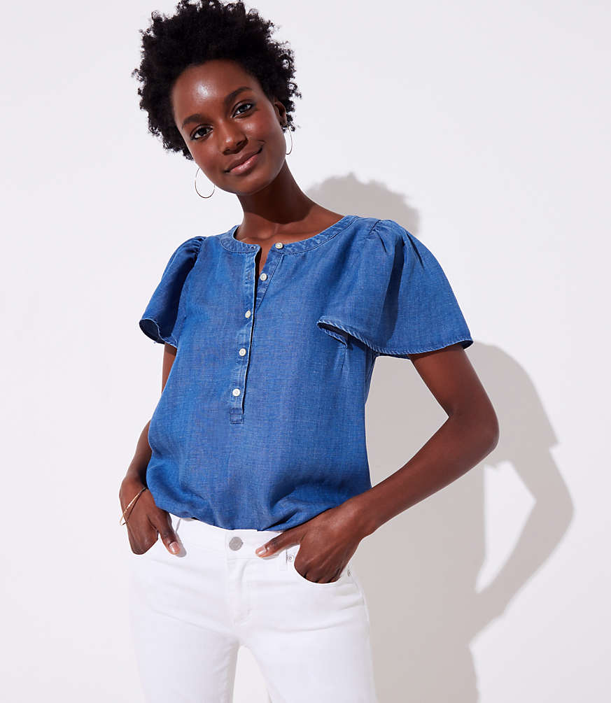 Chambray Flutter Henley Top