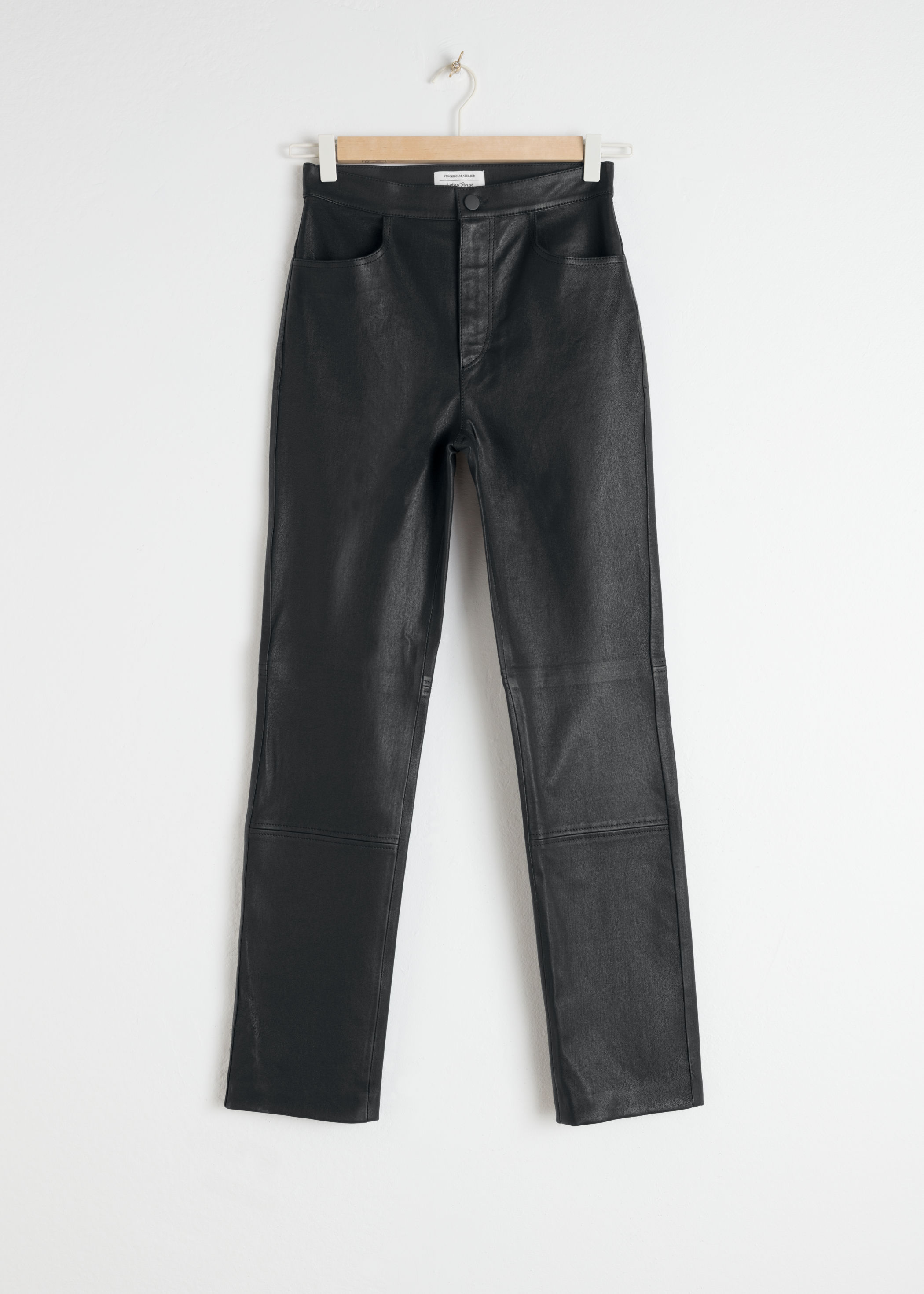 High Waisted Black Leather Pants