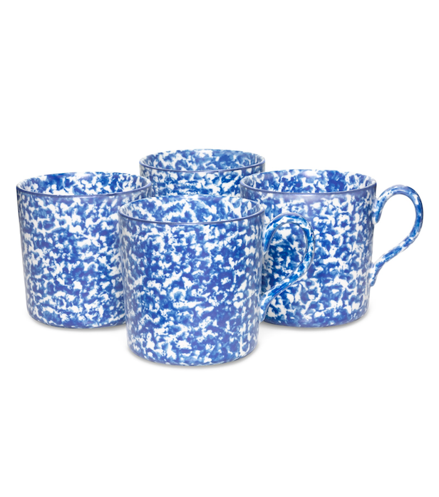 Blue and White Spongeware mugs