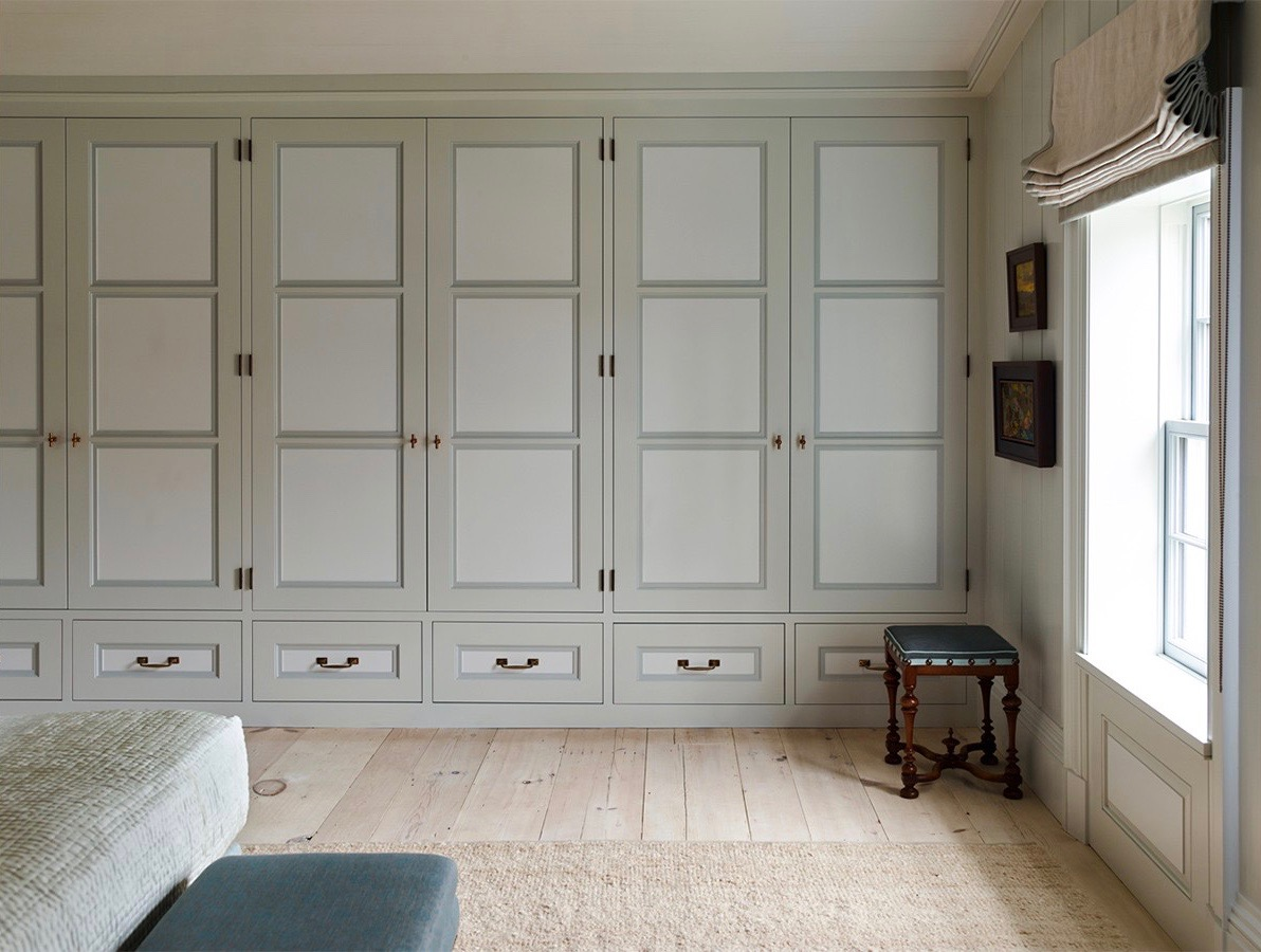 Grey Built-in Closets by Steven Gambrel in a Sag Harbor Bedroom