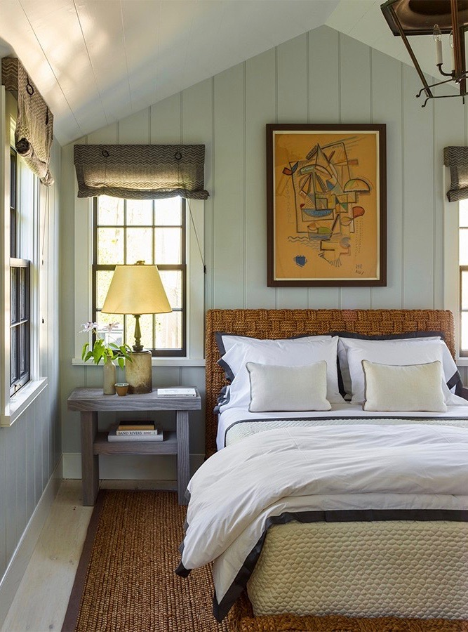 Steven Gambrel bedroom in Sag Harbor with Sisal Rug and Lantern