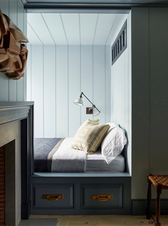 Sleeping Nook in a Sag Harbor Home by Steven Gambrel