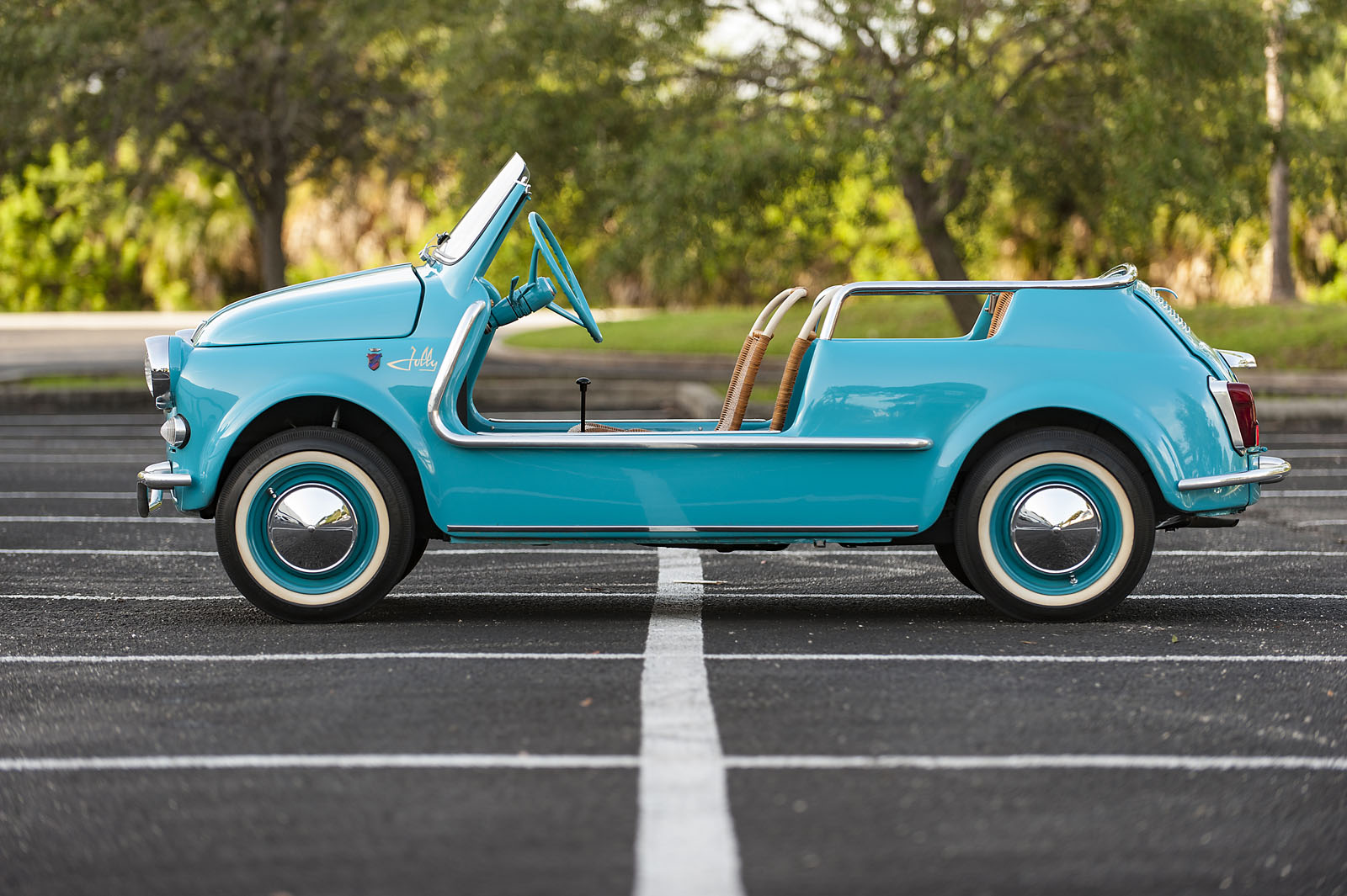 Turquoise Blue Fiat 500 Jolly Convertible